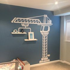 This item is not available - Construction crane vinyl wall sticker boys bedroom wall Wall Decals For Bedroom, Boys Bedroom Decor, Vinyl Wall Decals, Wall Sticker, Nursery Decor, Construction Bedroom, Construction Theme, Kids Room Design, Animal Decor