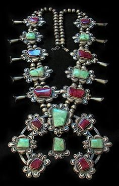 Squash Blossom Necklace | Kirk Smith (Navajo). 1990s. Sterling silver, Variscite and Sugilite