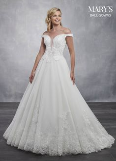 Marys Bridal Bridal Ball Gowns dress with Style - Fabric - Tulle Lace Satin Applique  and Color - Ivory or White f7edeaebb956