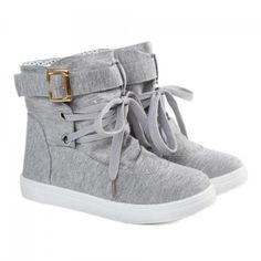 Fashion Buckle and Lace-Up Design Women's Boots, GRAY, 39 in Boots | DressLily.com