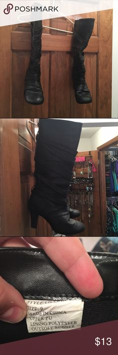 """Woman's size 9 black boots. 2 1/2"""" heel Faux leather boots. Strappy detailing around the whole boot. Some minor wear on the heel. Wet Seal Shoes Heeled Boots"""