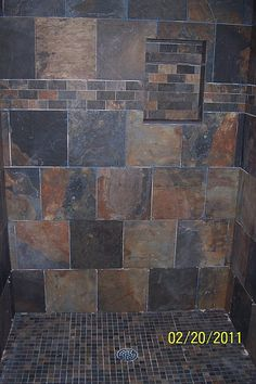 Slate tile in the shower - Bathrooms Forum - GardenWeb