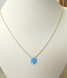 Opal Star of David necklace blue opal star necklace by Salshelima, $25.00