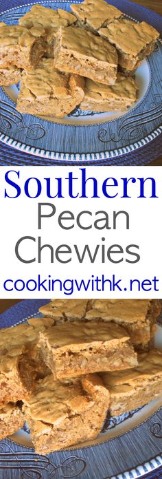 Southern Pecan Chewies are the best kept secret in my kitchen!  These Pecan Chewies are just that soft and chewy made with brown sugar, butter and loads of pecans!