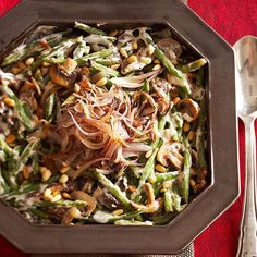 Every holiday menu should include a green bean casserole side dish. Our make-ahead version features mushrooms, herbed cheese, and splash of white wine, and can be made and chilled 24 hours ahead! http://www.bhg.com/christmas/recipes/holiday-side-dishes/?socsrc=bhgpin122014homemadegreenbeencasserole&page=40
