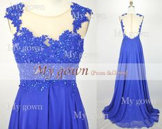 2014 Prom DressStraps Lace Beads Chiffon Blue Prom Dress by MyGown, $189.90