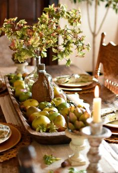Style a beautiful early fall tablescape without pumpkins. Here is a gorgeous French Country Fall tablesape with a harvest fruits apples and pears theme. Fall Home Decor, Autumn Home, Autumn Decorating, Decorating Ideas, Interior Decorating, Autumn Table, Early Fall, Decoration Table, House Decorations