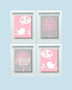 Bird Wall Art, You Are My Sunshine Wall Art, Pink Gray Nursery, Pink Gray Decor, Girl Nursery Wall Decor, Girl Nursery Wall Art Girl Nursery Nursery Wall Decor, Nursery Art, Girl Nursery, Bedroom Wall, Room Decor, Pink And Gray Nursery, Pink Grey, Gray Decor, Bird Wall Art
