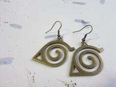 Naruto Konoha Symbol Brass Tone Earrings. $10.25, via Etsy.