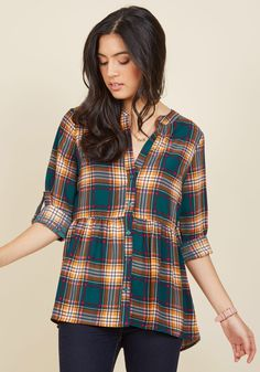 Creative Career Conference Button-Up Top in Teal Plaid, #ModCloth