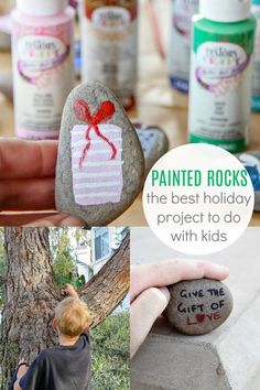 Looking for an easy holiday craft? See how to paint rocks with holiday pictures and inspirational messages to hide around your neighborhood. - DIY and Crafts Holiday Crafts, Holiday Fun, Winter Holiday, Holiday Ideas, Diy And Crafts, Crafts For Kids, Handmade Crafts, Martha Stewart Crafts, Diy Headboards