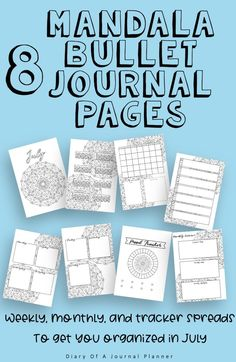 July Journal Planning Pages - Mandala Theme – Diary of a Journal Planner Planner Sheets, Printable Planner Pages, Bullet Journal Printables, Bullet Journal Themes, Bullet Journal Inspiration, Sticker Organization, Bullet Journal For Beginners, Perfect Planner, Mood Tracker