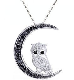 10k White Gold Black and White Diamond Owl Pendant Necklace (1/2 cttw, I-J Color, I2-I3 Clarity) US$435.