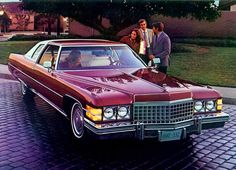 PROMOTIONAL PHOTO 1974 Cadillac Coupe deVille Cabriolet Finished in Cranberry Firemist with White Cabriolet vinyl roof. Bay had this toooo