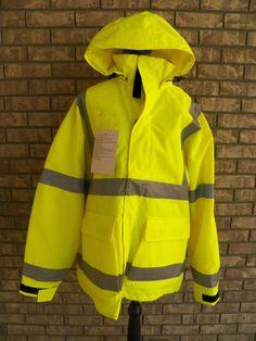 6b698eff86b Lion Apparel Medic 1 EMS High Visibility Parka Yellow Hood Reflective Tape  Zip L (eBay