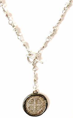 1 Medalla De San Benito Saint St Benedict 14k Two-Tone Rose Gold Coin Necklace