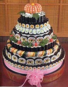 Sushi wedding cake.  Hmm... // yoooooooooooooooooooooooooooooooooooooooooooooooooooooooooooooooooooooooooooooooooooo lo quiero!
