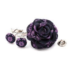 Men's+1.75+rose+with+matching+cufflinks+(up-cycled+silk)+_+Purple+Pattern+[U_Purple+Pattern]+-+$45.00+:+Sara+Monica,+Sara+Monica+Flowers
