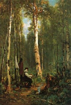 Artist at His Easel in the Woods - Thomas Hill