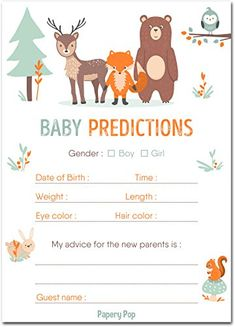 30 Baby Shower Prediction and Advice Cards, Boy or Girl - Baby Shower Games Decorations Activities Supplies Invitations - Woodland Animals #babyshowergames