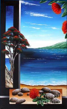 Beach Painting - Pohutukawa Coast by Terri Dangen Painting Inspiration, Art Inspo, New Zealand Art, Nz Art, Music Painting, Maori Art, Kiwiana, Christmas Illustration, Aboriginal Art