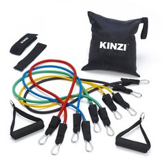 Fitness Equipment Store - Black Mountain Products Resistance Band Set with Door Anchor, Ankle Strap, Exercise Chart, and Resistance Band Carrying Case Best Resistance Bands, Resistance Workout, Resistance Band Exercises, Workout Guide, Workout Gear, Training Workouts, Gym Gear, Pilates Workout, Weight Training