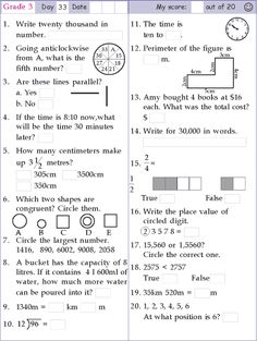 Search Results for Class 3 3rd Grade Math Worksheets, Printable Math Worksheets, Math Formula Chart, Math Olympiad, Math Pages, Math Formulas, Math Word Problems, Grade 3, Fun Math