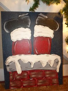 16x20 Hand Painted  Up On The Rooftop Santa by HoNeYHushHandMadE