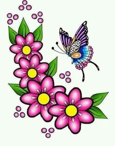 Borboleta Applique Patterns, Craft Patterns, Beading Patterns, Flower Tattoo Designs, Flower Designs, Flower Images, Flower Art, Quilting Designs, Embroidery Designs