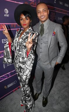 Janelle Monae & T.I. from The Big Picture: Today's Hot Photos  Suit up! The stylish music stars pose for pics at Essence's Black Women In Music event in New York City.