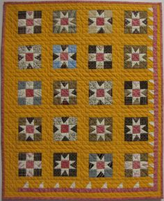Miniature Cheddar Stars Over Moab Antique by TextileTimeTravels...want to do a bed sized quilt like this and in these colors!