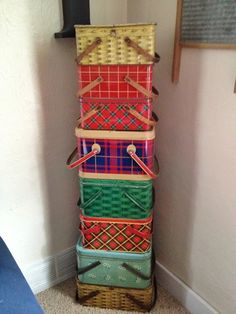 I've been thinking about collecting these... saw many at Canton  vintage tin picnic basket collection. Great for storage!