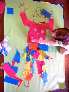 candice ashment art: Life-size body art! - tissue paper collage with kids