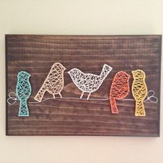 Birds on a wire string art sign di my2heARTstrings su Etsy