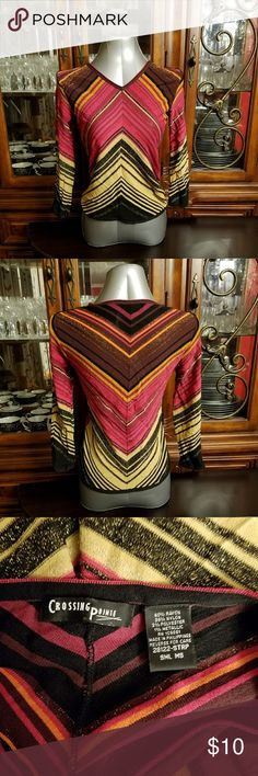 """Women's Reverse Chevron Top Multi colored, thin, long sleeved top. Very cute. The tag isn't too clear about the size; it """"SML"""" on it, but in my opinion this would fit someone S/M. Crossing Point Tops Tees - Long Sleeve"""