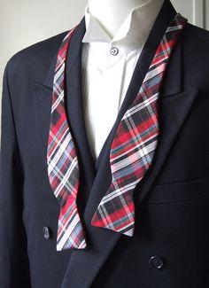 Mens bowtie freestyle bow tie ajustable cotton check by bagzetoile, $30.00