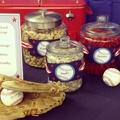 on concessions table. Softball Party, Baseball Birthday Party, Sports Party, Grad Parties, 1st Birthday Parties, Birthday Ideas, 13th Birthday, Dodgers Party, Welcome Home Parties