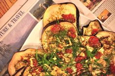 easy baked eggplant. making this tonight. 1 large eggplant  1 Tbsp. olive oil  1/2 tsp. sea salt  1/4 tsp. freshly ground pepper  1 cup Pomi strained tomatoes, plus more for serving  1/4 cup fresh arugula  2 Tbsp. fresh dill, finely chopped  2 Tbsp. Dijon mustard