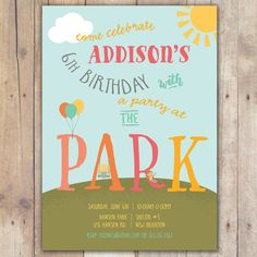Park birthday party invitation print your own party pinterest party at the park custom digital birthday party invitation any age girl stopboris Gallery