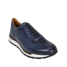 OFFICIAL WEBSITE Shop the Davio Hand-Burnished Leather Sneaker - Navy Leather now. Free shipping available. Adidas Running Shoes, Sport Body, Classic Sneakers, Leather Sneakers, Italian Leather, Calf Leather, Calves, Oxford Shoes, Navy