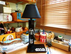 Unique handcrafted by QrtosCreations Wooden Tables, Table Lamps, Boyfriend Gifts, Birthday Gifts, Darth Vader, Star Wars, Hand Painted, Stars, Handmade Gifts