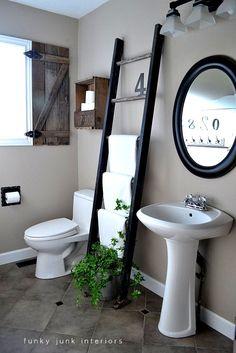 Funky Junk Interiors: Old ladder towel rack, I also love the shutter. Bathroom Towel Storage, Diy Bathroom, Bathroom Towels, Bathroom Organization, Bathroom Ideas, Bathroom Ladder, Organization Ideas, Vanity Bathroom, Basement Bathroom