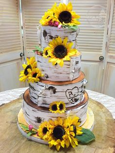 Forever After Cakes - Birch Bark Wedding Cake with Sunflowers
