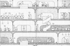 kw hg architects, Musashino place, Tokyo, Japan. Sketch