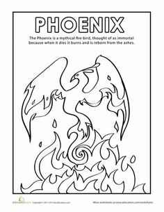 Worksheets: Phoenix Coloring Page