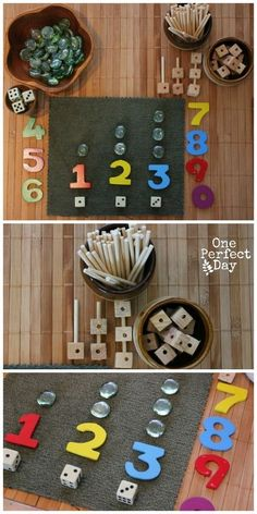Playful learning with math games and loose parts (preschool) Preschool Math Games, Numbers Preschool, Homeschool Math, Preschool Kindergarten, Preschool Learning, Fun Math, Teaching Math, Preschool Activities, Homeschooling