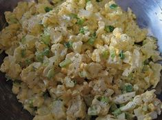 #salad Cauliflower Salad!!!  I love potato salad...but I hate all those carbs...so I made a low carb potato salad / with cauliflower instead .... It was SOOOO good    1 head of cauliflower steamed or boiled until tender in bite size pieces   6 boiled eggs (when done peel eggs, rinse and separate yokes into a bowl. Then mash the yolk and cut the whites into small bite size pieces then blend  together.   1/3 cup (appx) miracle whip or mayonnaise (don't use light it has more carbs)  3 tbsp. of