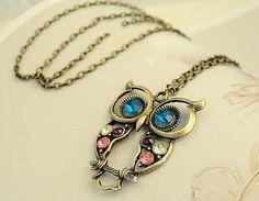 Retro Fashion Style Openwork Owl Shape Colorful Rhinestone Inlaid Necklace For Women