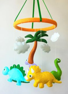 nursery mobile Baby crib mobile baby mobile crib mobile Dinosaur mobile hanging mobile baby shower gift felt baby mobile You can choose any colors!(Image