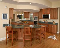 curved kitchen islands with seating | ... 150x150 Dovetail Signature Kitchen Natural Cherry with Curved Island